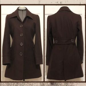 Tulle Wool Blend Brown Peacoat